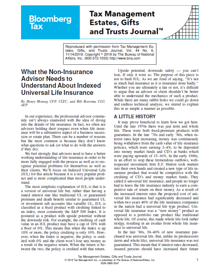 Bloomberg - What the Non-Insurance Advisor Needs to Understand About Indexed UL picture